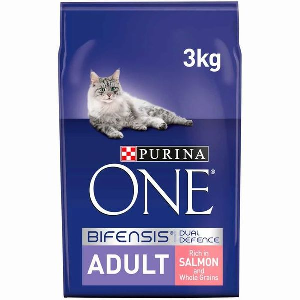 Purina ONE Adult Dry Cat Food Salmon and Wholegrain 3kg