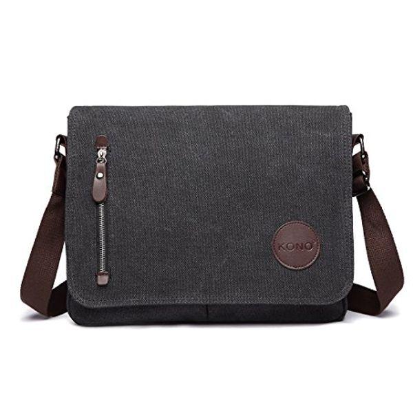 Save 38% - Kono Canvas Messenger Shoulder Bags for Men 13.5 inch Unisex Casual Cross Body Bag Travel Bag for School Travel Work Hiking (Black)