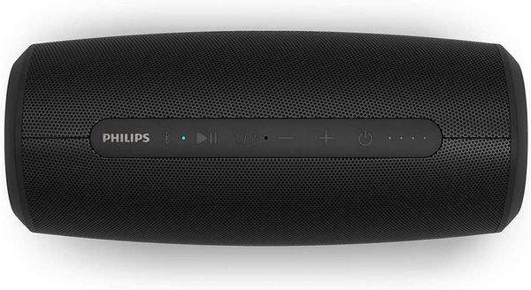 Save £7.68 - Philips Wireless Speaker S6305/00 with Power Bank Function (Bluetooth 5.0, Waterproof, 20 Hours' Battery Life, 2 Passive Bass Radiators, USB, Multi-Coloured LED Lights), Black – 2020/2021 Model