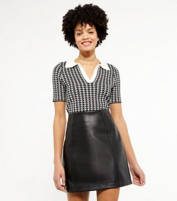 Save 61% - Black Dogtooth Collared Jumper