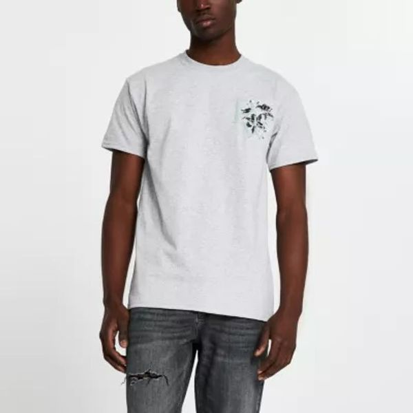 Save 56% - Grey 'River' floral logo slim fit t-shirt