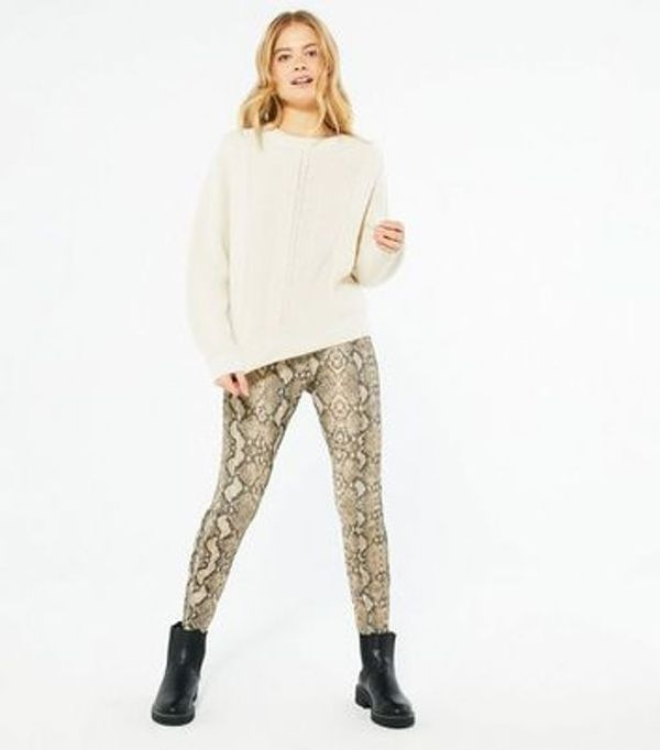 Save 57% - Brown Snake Print Textured Trousers