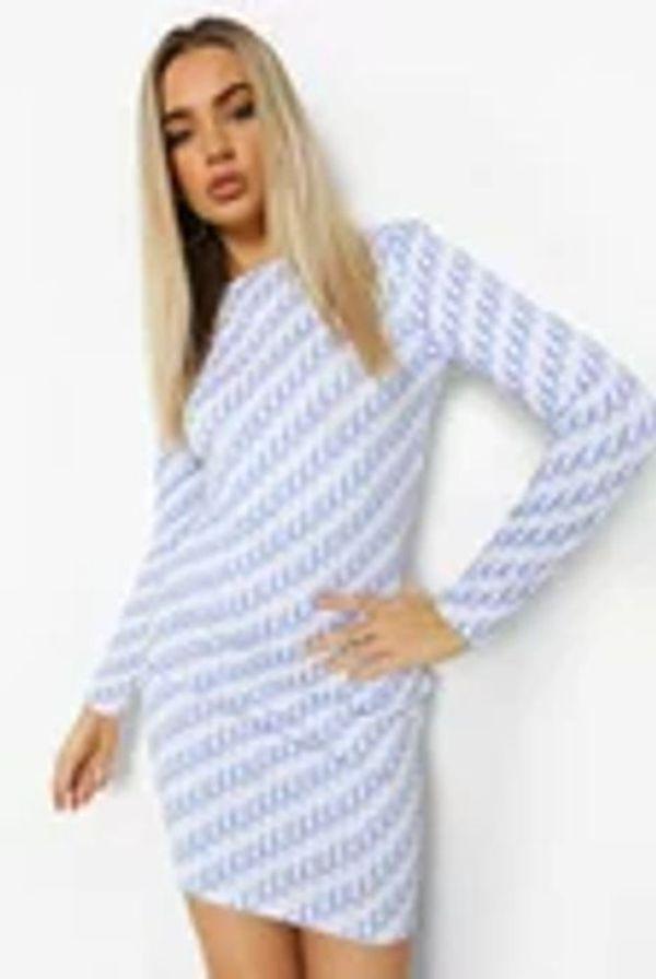 Monogram Print Long Sleeve Mini Dress Now £7.00 at Boohoo