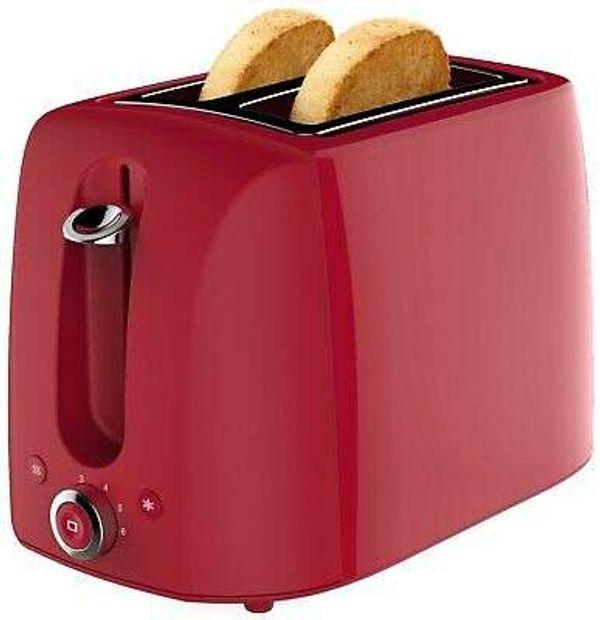 Cookworks 1050W 2 Slice Wide Slot Toaster - Red