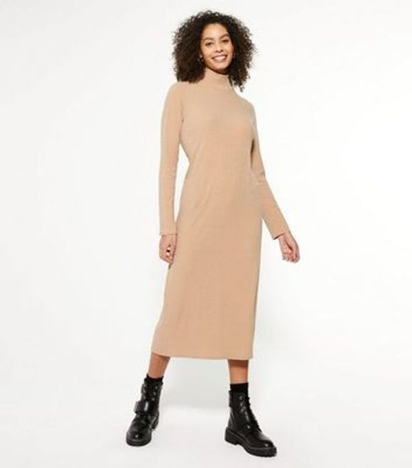 HALF PRICE! Camel Ribbed Jersey High Neck Midi Dress