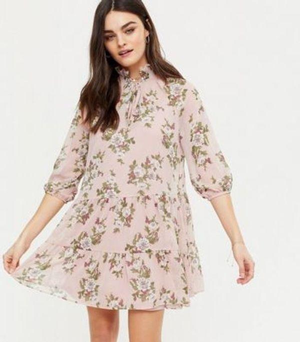 Save 57% - Pink Floral Tie Neck Chiffon Smock Dress