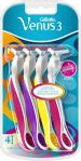 HALF PRICE! Gillette Venus3 Disposable Razor for Women with 3 Blades and Moisture Strip, Pack of 4 Razors